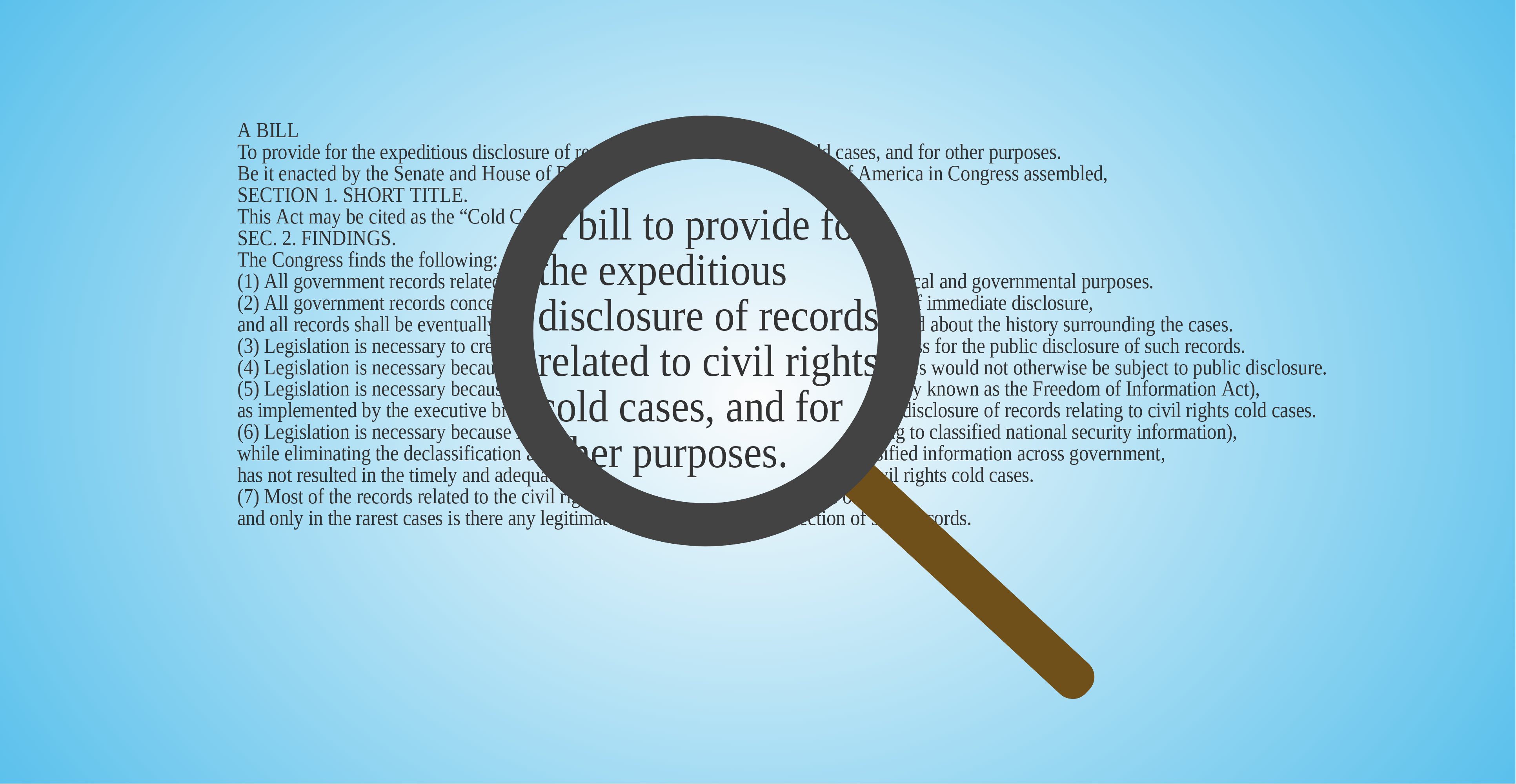 Graphic of magnifying glass over text